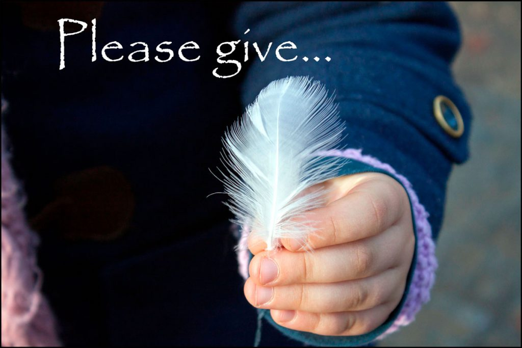"""""""Please Give"""" with image of child's hand holding feather"""